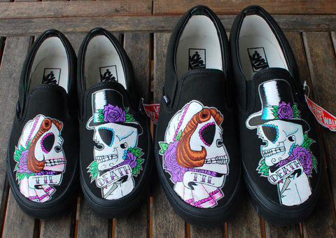 halloween shoes, custom sneakers, custom vans, custom wedding shoes, halloween wedding shoes
