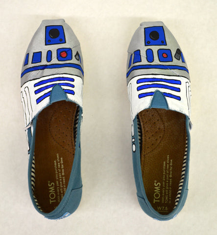 r2d2 toms shoes, custom toms, star wars toms, hand painted r2d2 toms shoes,