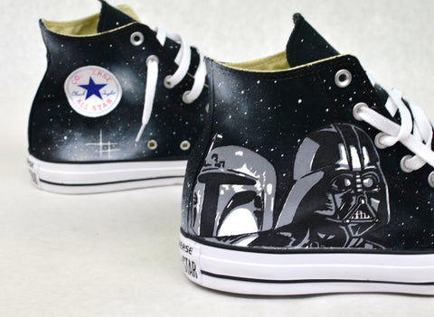 star wars converse, hand painted converse, boba fett, darth vader