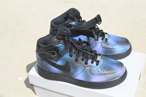 custom shoes, custom sneakers, galaxy nikes, custom nike shoes, galaxy nike af1, hand painted nike shoes