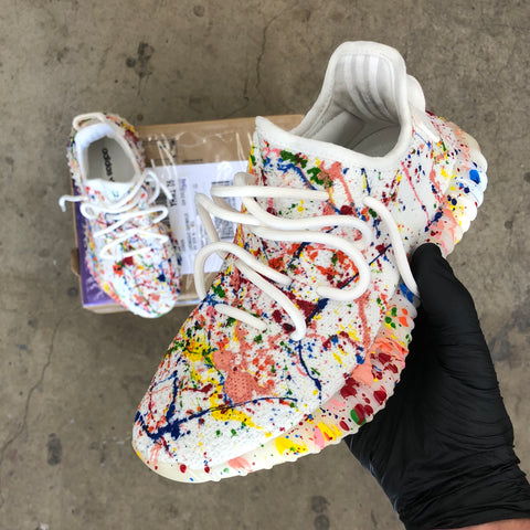 Custom Splatter Yeezy Boost 350 V2 Tripple White