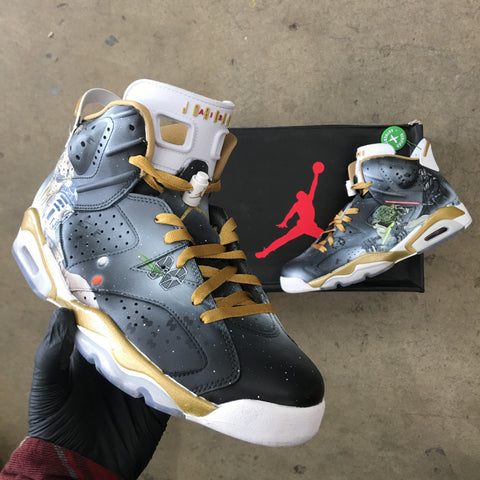 Custom Hand Painted Jordan Golden Moments 6 Retros
