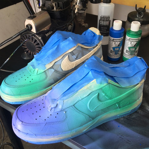 Custom Hand Painted Nike AF1, Custom Sneakers, Custom Trainers, Painted Shoes, B Street Shoes, Blake Barash, Zedd
