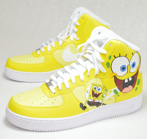 separation shoes b9985 fb443 Done with Jacquard Paint. spongebob square pants, spongebob nikes, custom  nikes, custom nike AF1, hand painted