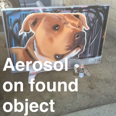 Grizz_thewizz, american bully, painted tv, aerosol on found object, street art, graffiti art