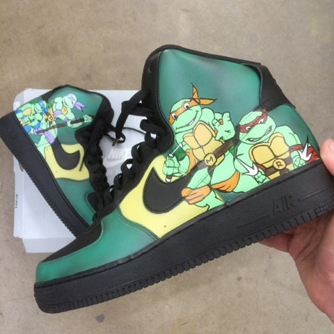 tmnt nikes, custom painted nike sneakers, hand painted nike af1, teenage mutant ninja turtle nike shoes