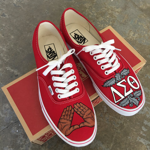 Delta Sigma Theta Vans, Custom Sorority shoes, hand painted vans shoes,