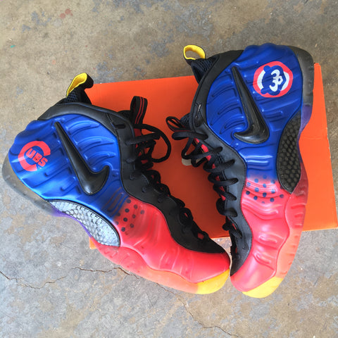 custom foamposite, nike foamposite, chicago cubs foams, custom chicago cubs shoes