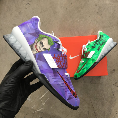 Custom Painted The Joker Nike Romaleos 3 Weightlifting Shoes