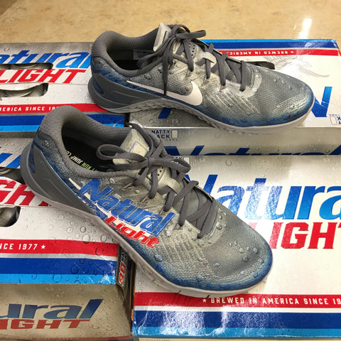 Custom Painted Natural Light Beer Nike Metcon 3 Crossfit Trainers