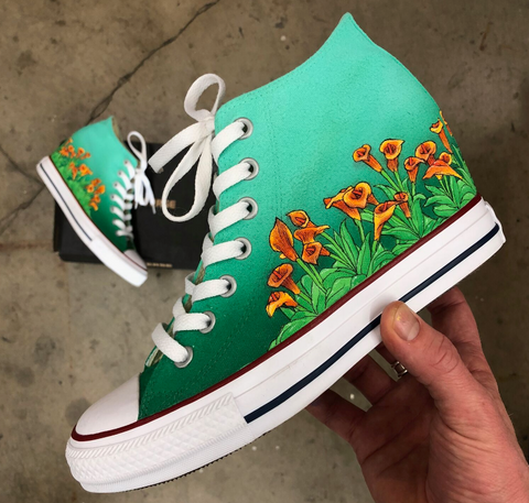 72a235b78c26 Custom Painted Floral Wedding Wedge Converse – B Street Shoes