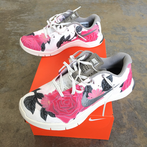 Pink Custom Painted Shoes for Breast Cancer Awareness Month