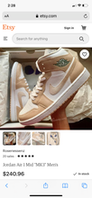 White Jordan 1 Mid - Mens 13 - 2 pairs - Custom Order - Invoice 1 of 2