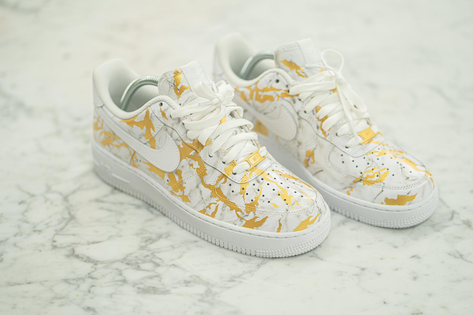 Custom Hand Painted Gold Marble Nike Air Force 1 Low – B Street Shoes