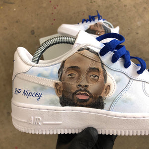 Custom Hand-Painted Nipsey Hussle Tribute AF1s
