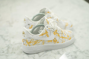 Custom Hand Painted Gold Marble Nike Air Force 1 Low
