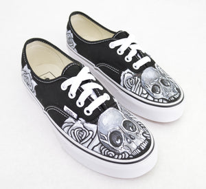 89678682a5 Black   White Skull   Rose on Black Vans Authentic - Custom Hand Painted  Shoes