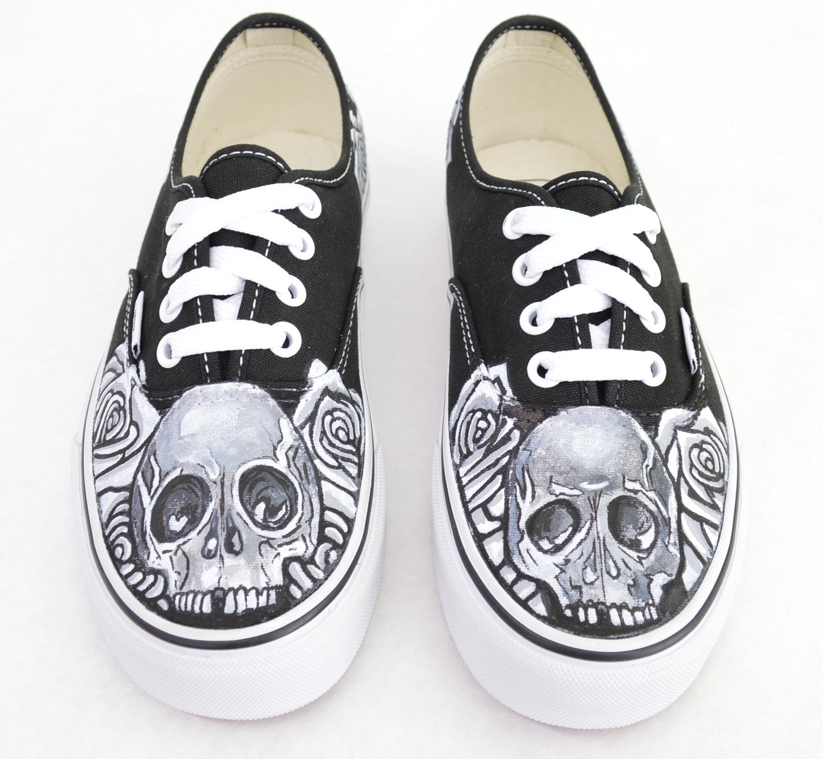 Black White Skull Rose On Vans Authentic