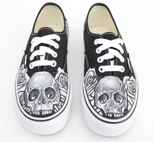 Black & White Skull & Rose on Black Vans Authentic - Custom Hand Painted Shoes - B Street Shoes