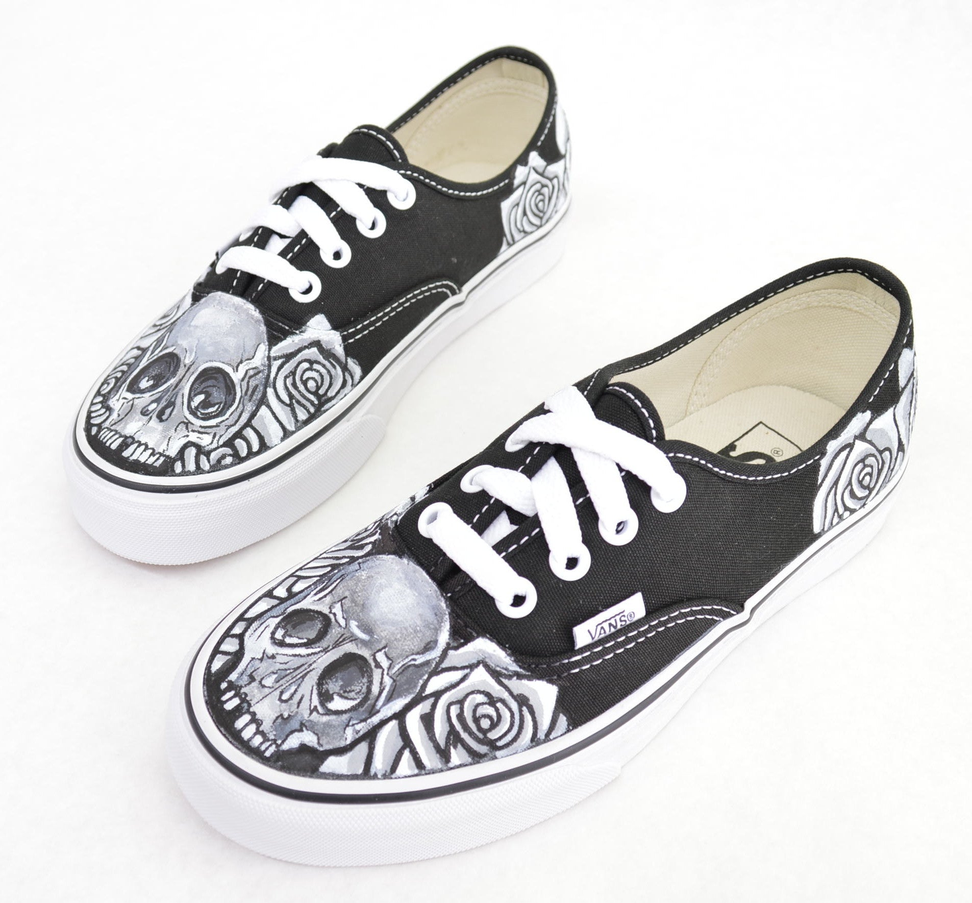 645929fee4 Black   White Skull   Rose on Black Vans Authentic - Custom Hand ...
