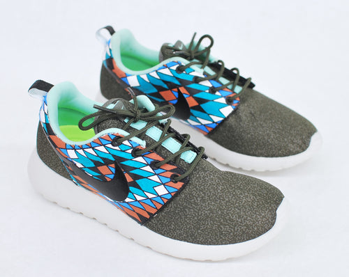 Custom Hand Painted Nike Roshe Run - Tribal Pattern - B Street Shoes