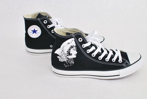 Black Converse Hi Top - Macklemore Shark Face Gang Theme - B Street Shoes