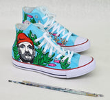 Custom Converse, The Life Aquatic Custom Shoes, Bill Murray Portrait, Hand Painted Shoes