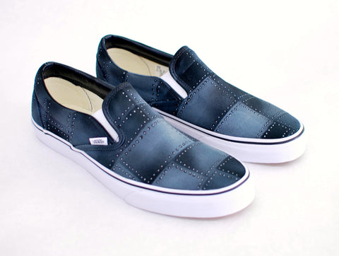 Steel plated Vans Slip Ons - Hand Painted