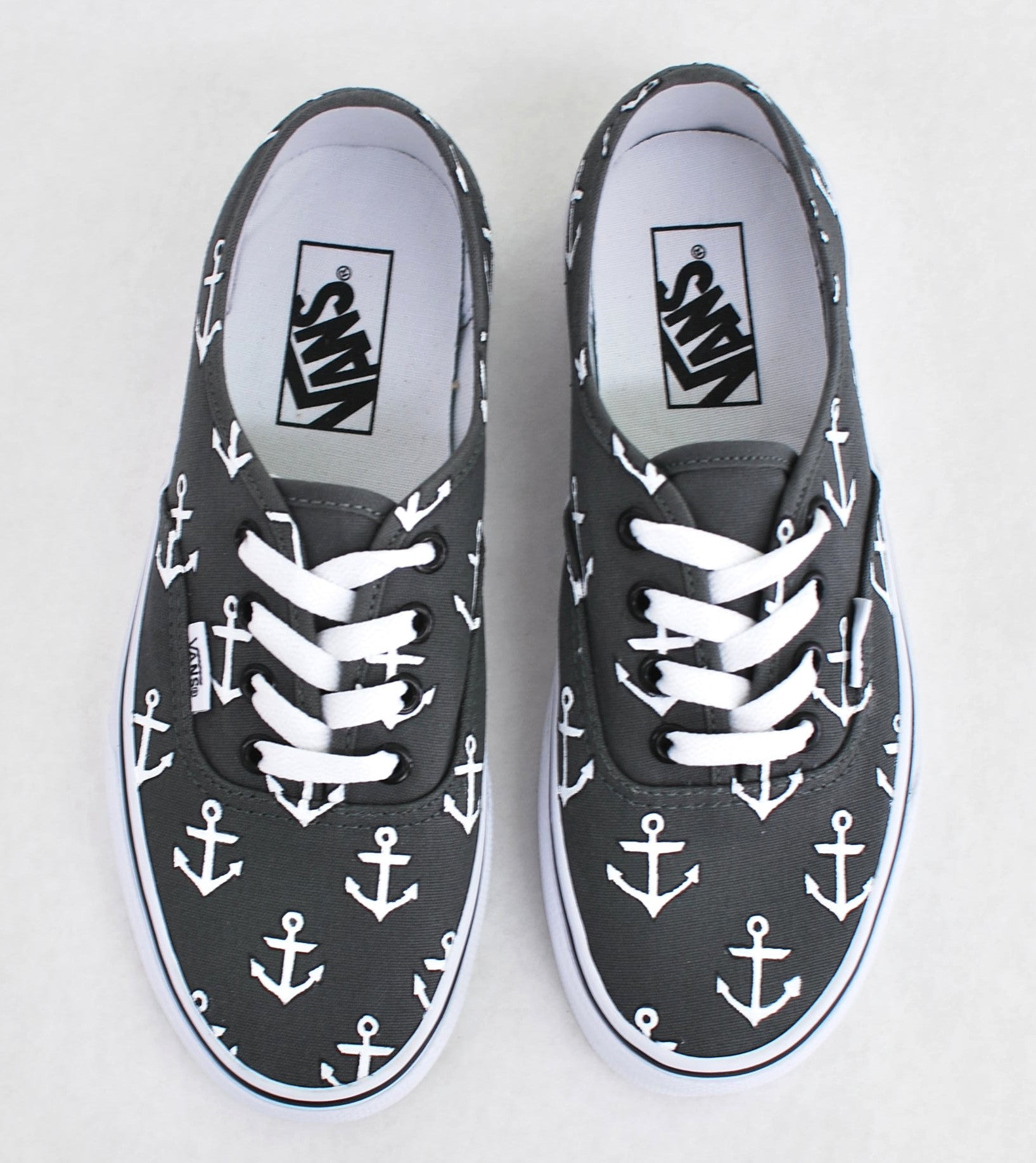 Custom Hand Painted Sailor Nautical Theme Anchor Pattern Charcoal Vans Authentic Shoes