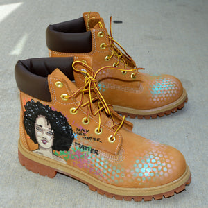 Custom Timerland Boots, Custom Hand Painted Sneakers, Black Lives Matters