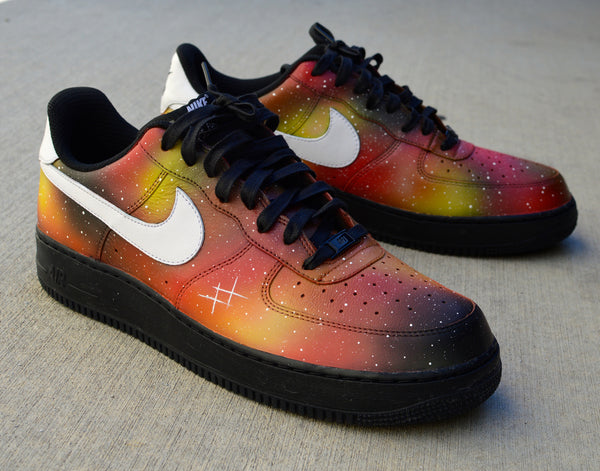 Custom Sneakers, Hand Painted Shoes, Solar Flare Galaxy Nike AF1s, Custom AF1