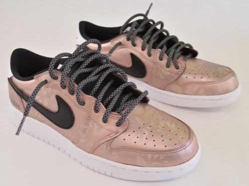 Custom Nike Rose Gold Jordan Retro 1 Low OG Sneakers - Hand Painted