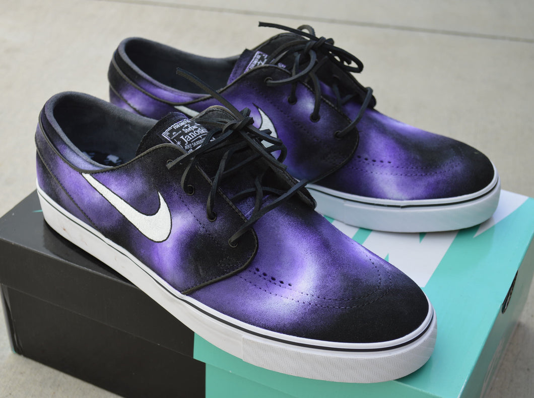 Custom Hand Painted Purple Smoke Nike SB Stefan Janoski Skate Shoes - B Street Shoes