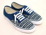 Tribal looking Phone Cord Vans - Hand Painted Navy Authentic Vans shoes