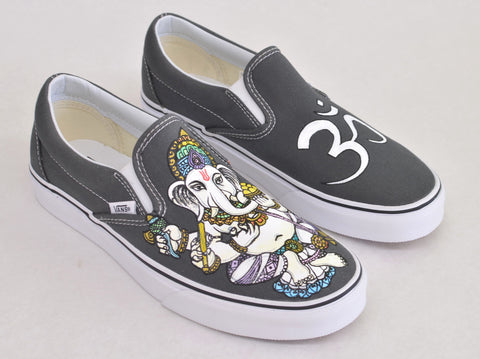 Custom Hand Painted Ganesh Slip on Vans - B Street Shoes