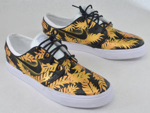 Custom Black & Gold Tropical Floral Nike SB Zoom Stefan Janoski - Hand Painted - B Street Shoes