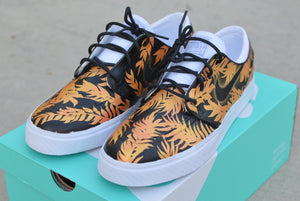 floral stefan janoski, tropical floral nike sb janoski, hand painted nike sneakers, custom shoes, bstreetshoes