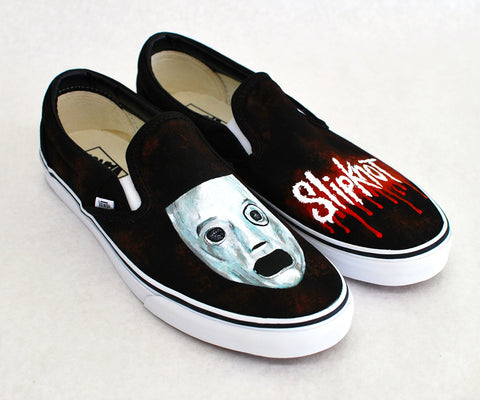 Custom Black Canvas Slipknot Vans - Hand Painted - B Street Shoes
