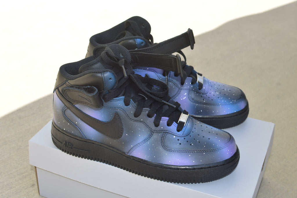 timeless design be1c6 83ce3 Hand Painted Nike AF1 Mid Galaxy Sneakers - Custom Galaxy Nike Air Force ...