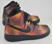 bstreetshoes, solar flare galaxy sneakers, red and yellow galaxy shoes, hand painted shoes, custom sneakers, custom nike shoes, nike aft, custom hand painted nike af1,