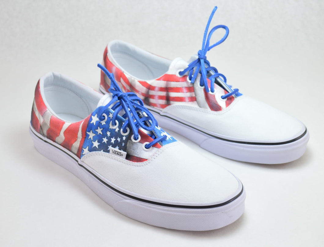 American Flag Hand Painted Vans Era - USA Flag Theme - B Street Shoes