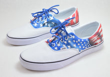 american flag Vans Era, hand painted USA theme Vans Shoes