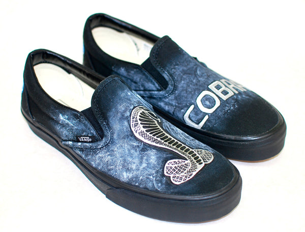 Custom Hand Painted Ford Cobra Black Slip-On Vans