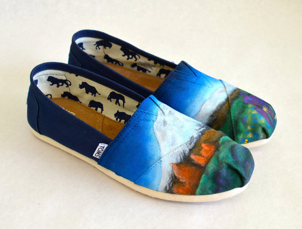 Custom Hand Painted Mountain Outdoor Theme Toms - B Street Shoes