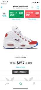 Men's size 10.5 Reebok Question High - Big Daves Theme - Custom Order