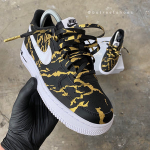 Custom Hand Painted Gold and Black Marble Nike Air Force 1 Low