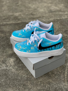 Custom Hand Painted Gold Speckled Blue Drip Nike Air Force 1