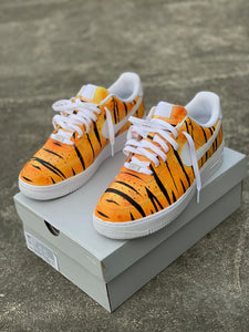Custom Hand Painted Orange Tiger Stripe Nike Air Force 1