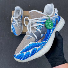 Custom Paint Great Wave of Kanagawa Adidas Yeezy's