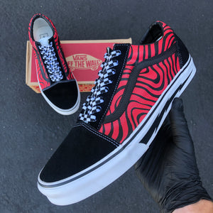 US Men's Size 11.5 Vans Old Skool- Red/Black Custom Design- Custom Order- Payment 2 of 2